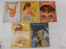 Lot of 5 Playboy Magazines from 1965