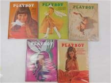 Lot of 5 Playboy Magazines from 1970