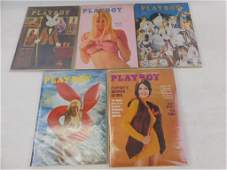 Lot of 5 Playboy Magazines from 1972