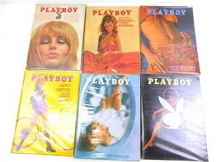 Lot of 6 Playboy Magazines from 1969-1971
