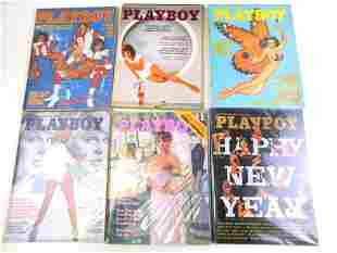 Lot of 6 Playboy Magazines from 1976 and 1977