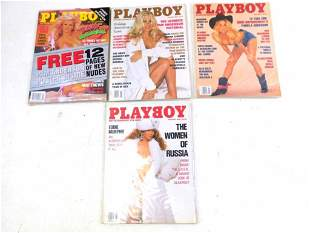 Lot of 4 Playboy Magazines Featuring Pamela Anderson