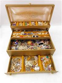 Vintage Jewelry Box Filled with Costume Jewelry