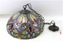Stained Glass Hanging Light Fixture or Lamp