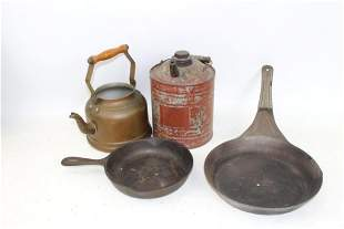 Vintage Lot incl Wagner Ware , Savory Fry Pan , Gas Can