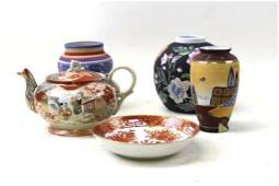 Lot of Vases , Teapot , and a Bowl