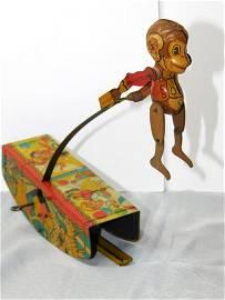 Vintage Acrobatic Marvel by Marx Tin Toy Monkey WORKS