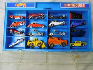 Vintage Hot Wheels Display Case with 16 Cars