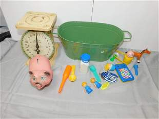 Vintage Metal Scale , Piggy Bank , Fisher Price Toys ,