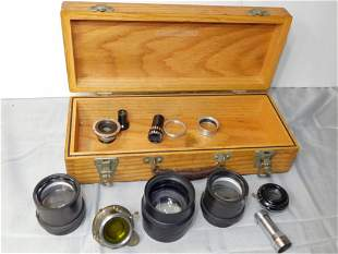 Engis Equipment Co Wood Box with Optical Lenses, Old