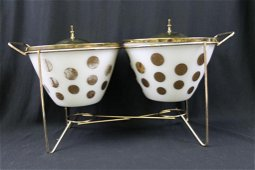 Vintage Fire King Polka Dot Serving Bowl Set or Chafing