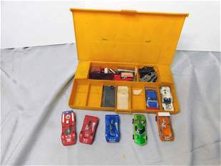 Lot of 5 Slot Cars , Carrying Case , etc