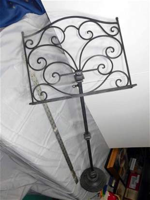 Vintage Cast Metal Music Stand with Scroll Design ,