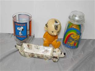 Home Decor Lot incl Snoopy Candy Jar , Peanuts cups,