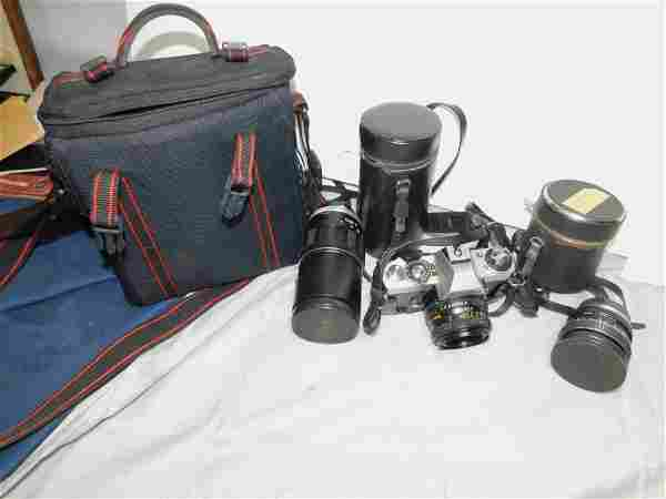 Minolta Camera with 2 Lensees , Nice Camera Bag , etc