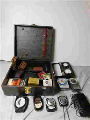Box of Vintage Light Meters and a Carrying Case