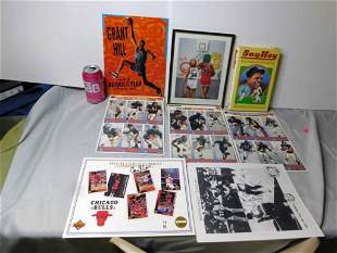Sports Lot incl Willie Mays Book, Grant Hill Metal Sign