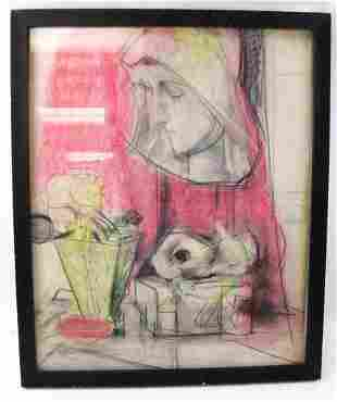 Mixed Media on Paper In the Style of Jean Negulesco ,