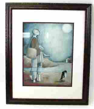 Original Monotype (lofl) Walking Penguins Signed L.