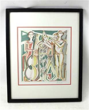 Pencil Signed Lithograph in the Style of P. Picasso