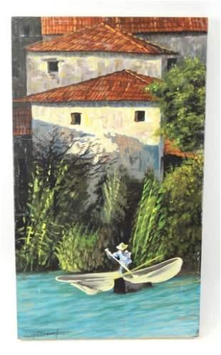 """River Boat Scene Original Oil on Board Signed """" Segura"""