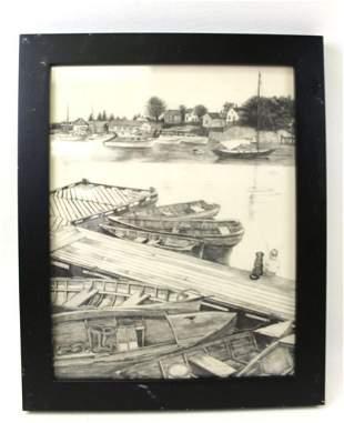""" Lake Geneva "" (1939) Original Drawing Pencil Signed"