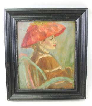 """Oil on Board """" Woman in Red Hat """" in the Style of Lilla"""
