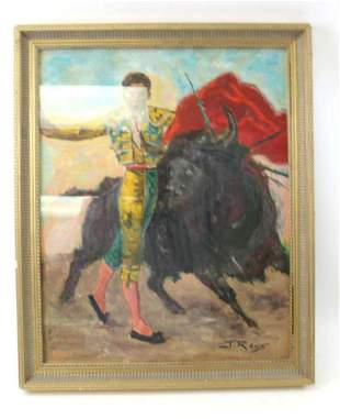 """Mixed Media on Board """"The Bullfighter"""" Attributed to J"""