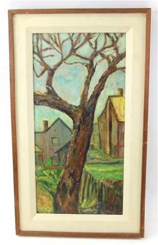 Oil on Board in the Style of Aaron Bohrod (1907-1992)