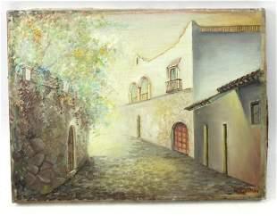 "Spanish Village Street Oil on Canvas Signed ""Guzman"""