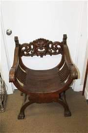 Vintage Carved Wood Curved Seat Chair with Lions Heads