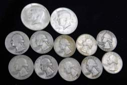 Coin Lot incl 2 Nice 1964 Kennedy Half Dollars and 10