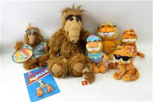3 Vtg 1986 Alf Plush and 4 Garfield the Cat Plush