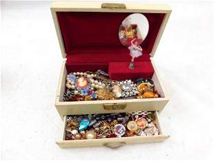 Jewelry Music Box Filled with Costume Jewelry