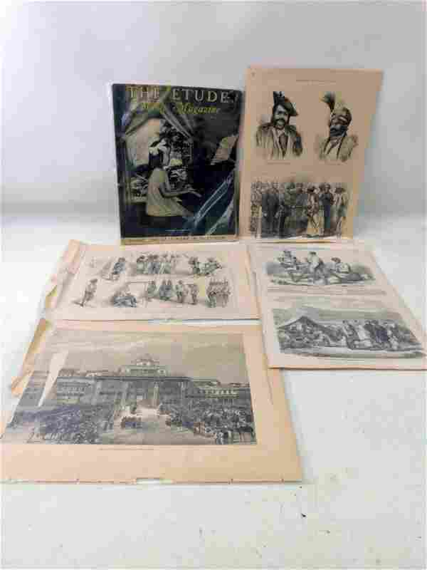 Vintage Ephemera Lot incl Old Prints and an Etude
