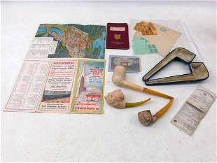 NY World's Fair and Transit Map , 3 Vintage Pipes ,