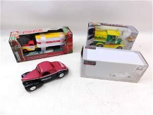 3 Truck/Car Coin Banks incl Coca Cola Semi NIB 1/43