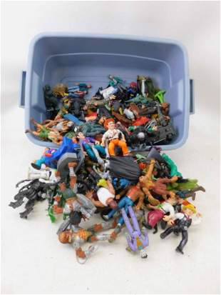 Box of Action Figures incl Dick Tracy , Aliens , Batman