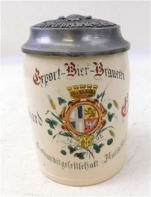 Antique German Beer Stein , Brewery in Kulmbach