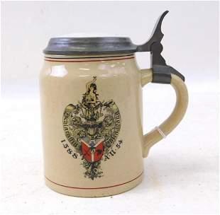 """Antique German Beer Stein """" Schlaraffia Chiagoana """""""