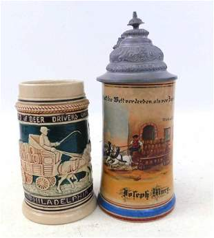 2 Beer Steins incl Antique Occupational Beer Wagon