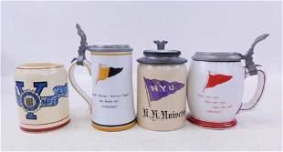 4 Antique Advertising College Beer Steins