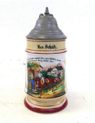 Antique Porcelain with Lithophane Beer Stein