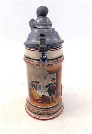 Antique Regimental .5L Beer Stein , Pickelhaube Pickel