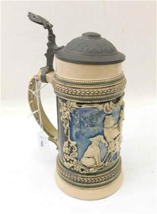 Antique 1/2L Pottery Student Beer Stein ca 1900