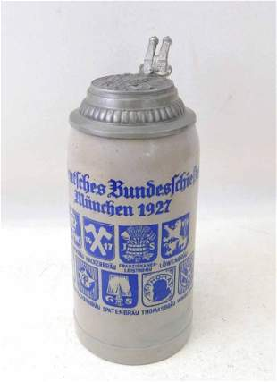 1927 Brewery Beer Stein Deutche Bunde Munchen 1L