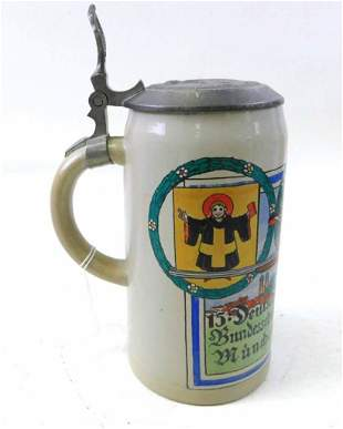 Antique Pottery Advertising Beer Stein 1L