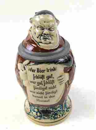 Antique Character Stein of Monk , 1/2L Pottery