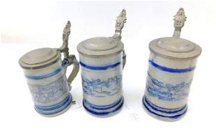 3 Beer Steins incl Whites Utica NY Horse Beer Stein