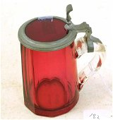 """Antique Ruby Glass Ladies Beer Stein , 6"""" Tall , Circa"""